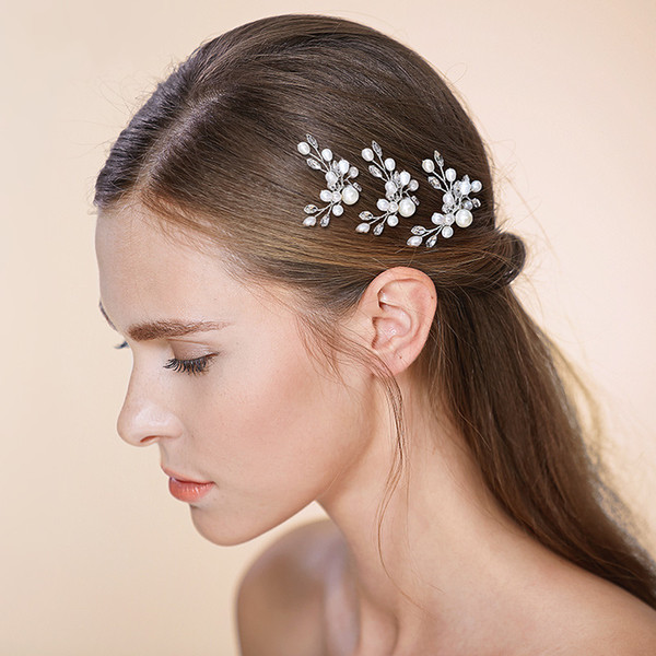 New Wedding Headpieces Bridal Hair Accessories White Peals Rhinestones Hairpins Women Hair Jewelry Bridal Jewelry #HP505
