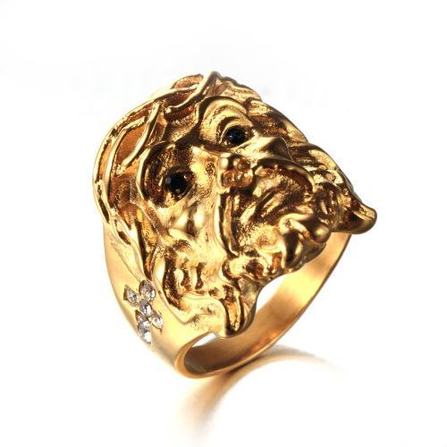 Christmas Gift Wholesale and Retail Fashion Diamond 3D The Head of Jesus Titanium Steel Ring Free Shipping (1pcs)