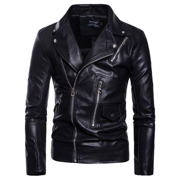 2019 New European and American style men's locomotive multi-zip leather jacket large size slim PU leather jacket black coats