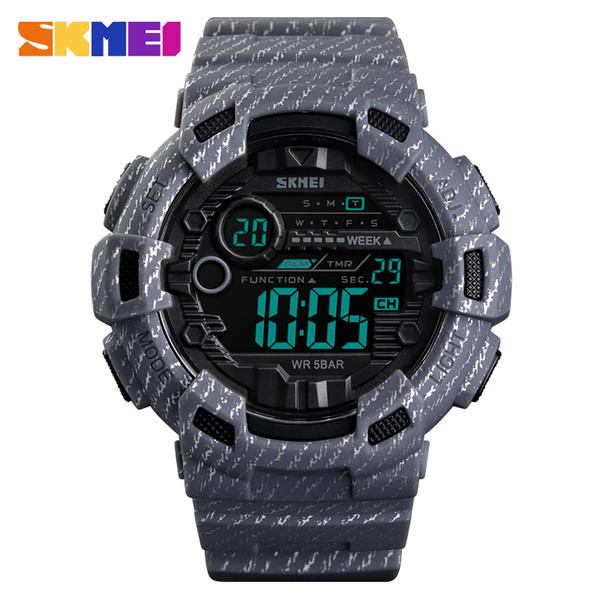 Sport Watch Men Alarm Clock 2 Time Waterproof Wristwatches Week Display Men's Watches Denim Digital relogio masculino SKMEI