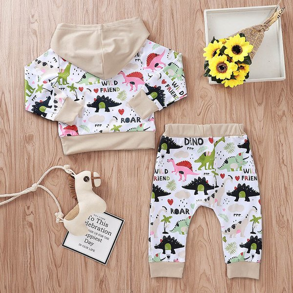 on feet shots of new arrive reasonable price 2019 Ins Dinosaur Baby Tracksuit Baby Suits Newborn Tracksuit Baby ...