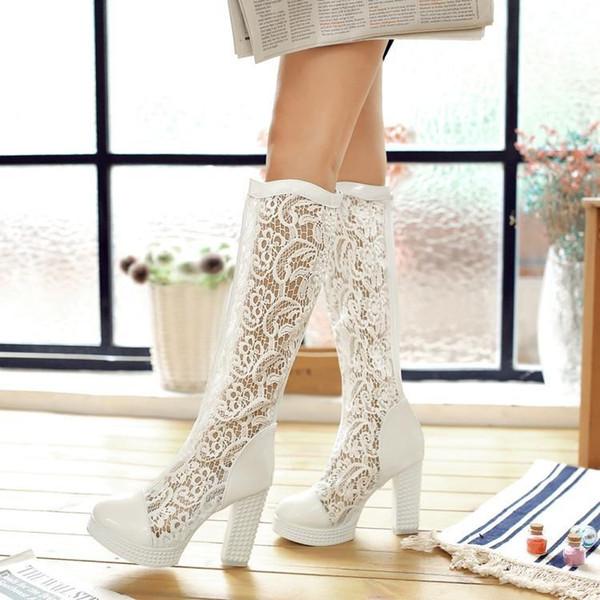 Boot Summer Lady sandals Womens chunky Heel platform High Heel 10 cm heel mesh over the knee boot black shoe free ship