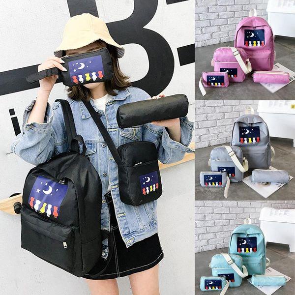 Borsa da scuola per borsa da studente borsa da viaggio a tracolla stampata a quattro pezzi da donna