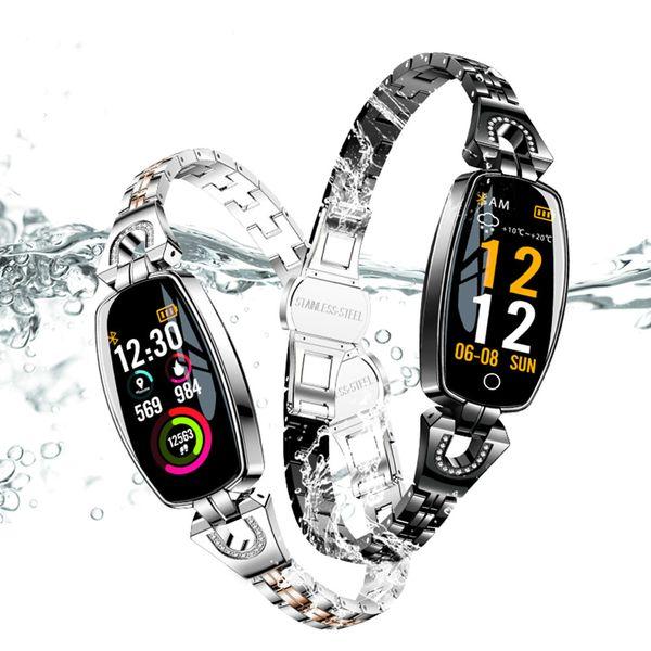 H8 Spor Bilezik Kadınlar Spor Akıllı İzle Su Geçirmez Kalp Hızı Izleme Bluetooth Android IOS Için Bileklik