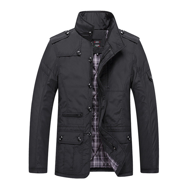 Men's Jacket New Autumn Winter Stand Collar Casual Coats Zipper Trench Male Thick Clothing Business Outerwear Asian Size L-5XL