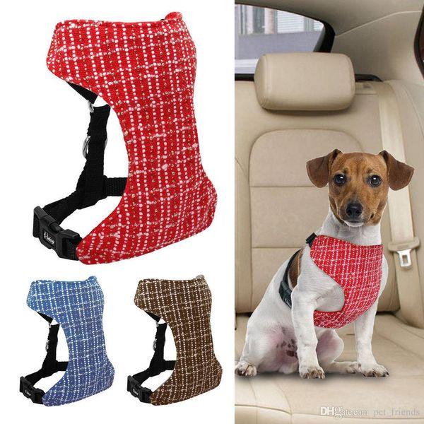 Soft Mesh Dog Car Seat Belt Vehicle Harness Vest Pet Adjustable Nylon Dog Vehicle Harnesses Safety For Small Medium Large Dogs