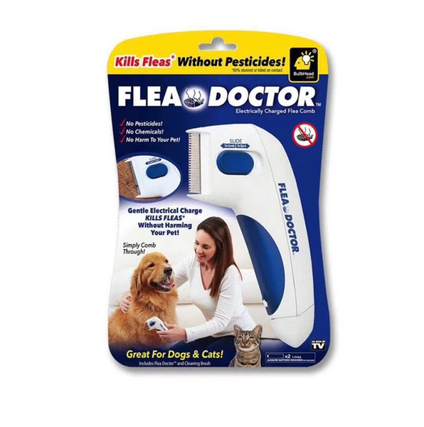 Pet Dog Flea Doctor Electric Comb Fleas Cleaning Brush Cats Lice Removing Device Plastic White Portable Creative 19mx C1