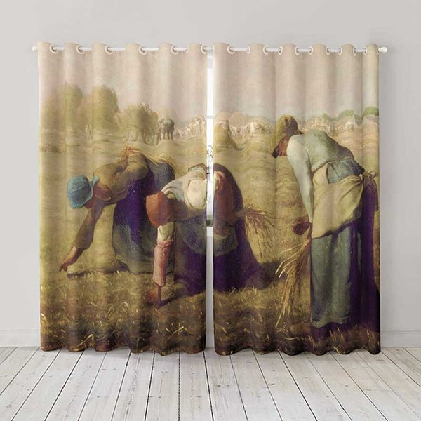 Personality Custom curtain world famous painting Gleaners drapes Extra wide Blackout curtain party decoration background