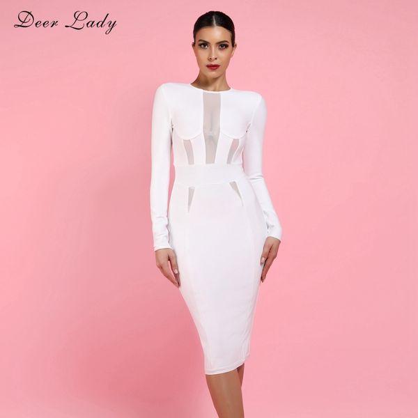 84d8aaa629f7a wholesale 2018 Woman Bandage Dress Elegant White Bandage Bodycon Dress Long  Sleeve Sexy Mesh Bandage Dress