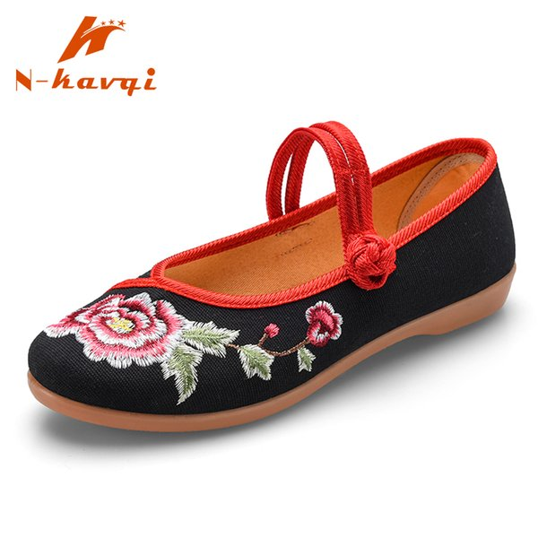 NKAVQI Mary Jane Shoes Women Cotton Fabric Upper Material Ladies Embroidered Flats Party Shoes Soft Sole Loafers Women