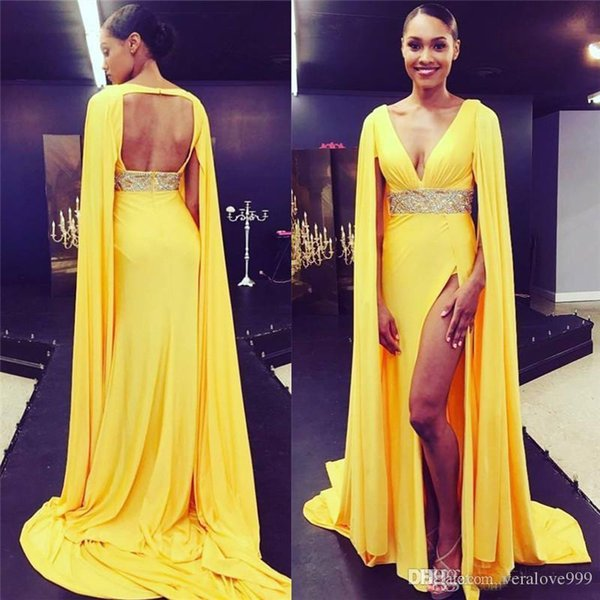 2019 Sexy Deep V Neck Open Back Prom Dresses High Split Backless Celebrity Red Carpet Dress with Cape Long Evening Party Gowns