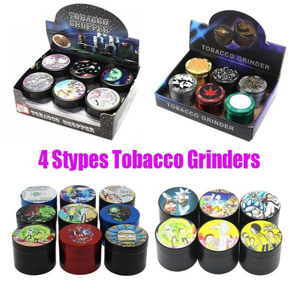best selling Original Sharpstone Tobacco Grinders Rick and Morty Cartoon Style Marble Herbal 4 Layers 40mm 50mm 63mm Alloy Dry Herb Big Grinder