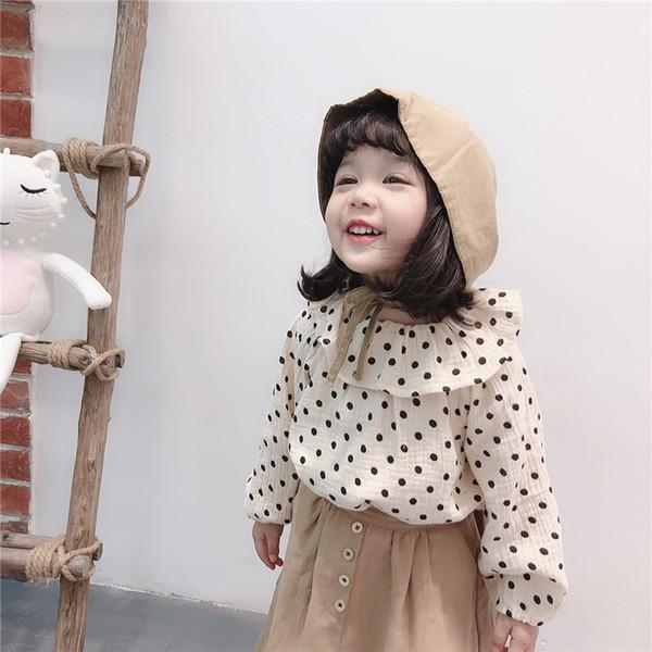 Güz Yeni INS Küçük Kızlar Polka Dot Bluz Gömlek Turn-down Yaka Keten Organik Pamuk Güzel Çocuk Şifon Prenses Kız Gömlek Tops