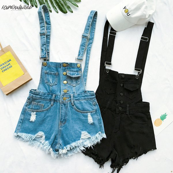 Vogue Hot Women Clothing Denim Playsuits Cotton Strap Rompers Shorts Loose Casual Overalls Female Shorts Denim Rompers Playsuits