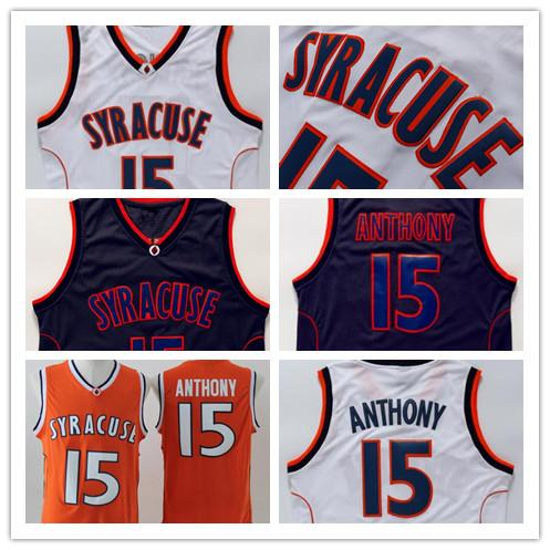 Syracuse College Mens Anthony Jersey Herren Orange Weiß Schwarz Eiche Hill High School Carmelo Basketball Jerseys Genäht