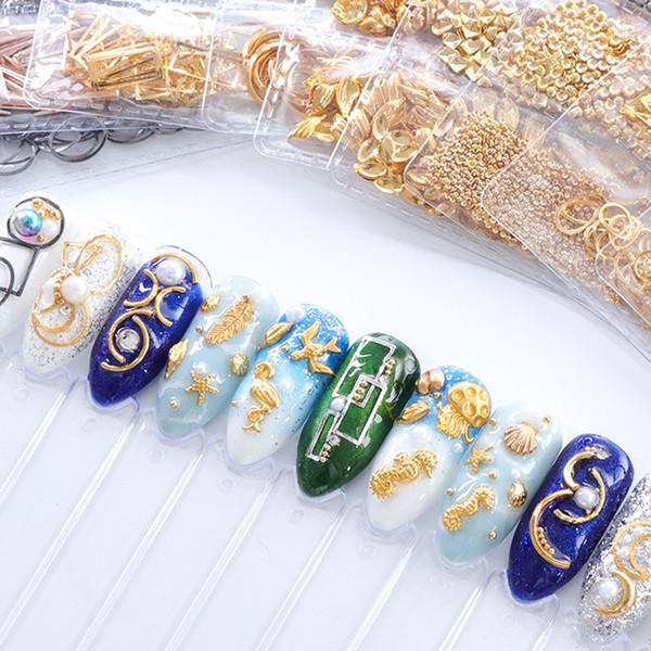 Yeni tırnak aksesuarları altın ve gümüş yüzük takı Yıldız ay güneş poligon çok desen tırnak takı