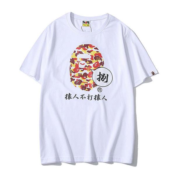 Bape Designer Camiseta Bape Mens Camisa Dos Homens T Designer Macacos Não Bata Impresso Homens Mulheres Hip Hop Tee Preto Branco