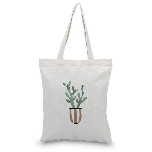 Handbag Canvas Tote Bag Plant Series Custom Print Logo DIY Daily Use Shopping Bag Eco Ecologicas Reusable Recycle