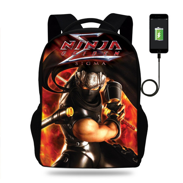 Men's 3D Ryu Hayabusa Ninja Gaiden Print USB Charging Backpacks Teenager Boys Bagpack Cool Tourism Package for Travel Mochila