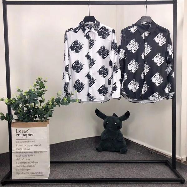 2019 ilkbahar ve yaz high-end kişiselleştirilmiş dijital baskı İnce mikro-elastik naylon pamuk ince erkek gömlek moda rahat 620 58592