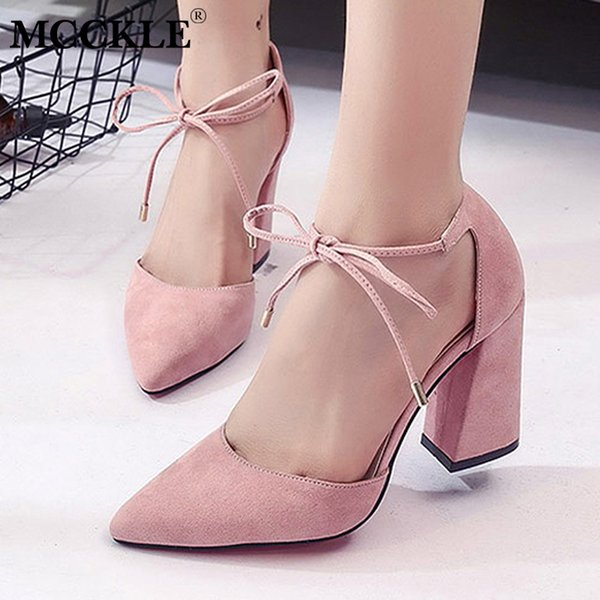 Designer Dress Shoes MCCKLE Women Spring High heels Ankle Strap Pumps Pointed Toe Wedding For Girls Fashion Flock Lace Chunky Heel Footwear