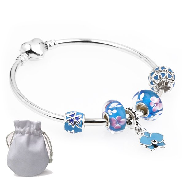 Simple Stainless Steel Bracelets Fit Pandora Charms Girl Enamel Magnolia Beads Silver Heart Clasp Bangle Petal Pendants gift Kids P131