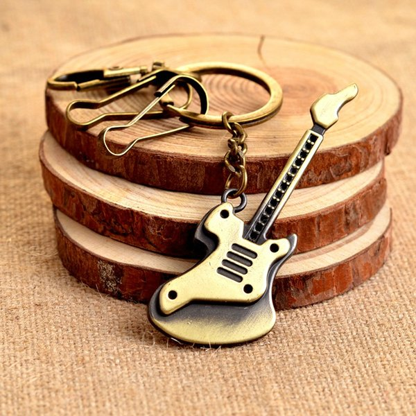 Vintage Ancient Bronze Guitar Bass Music Key Rings Keychains Pendant Key Accessories Gift For Friends 1PCS