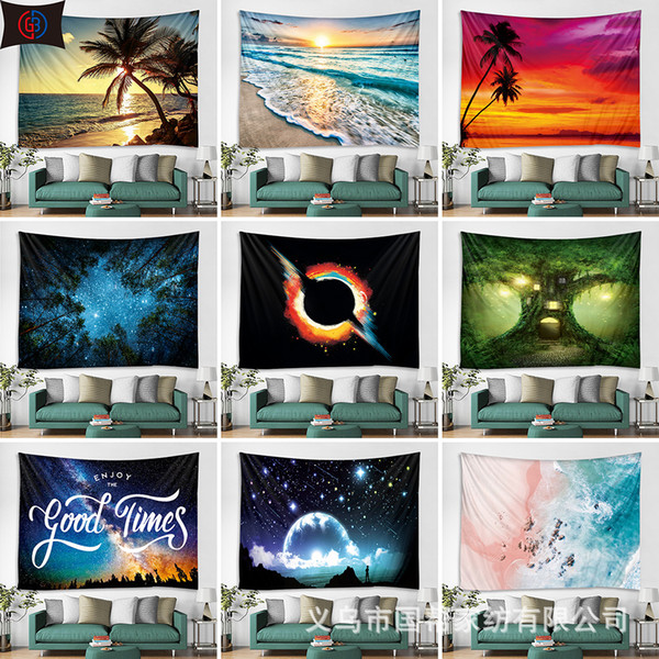 Wall Hanging Tapestry Scenery Pattern Blanket Beach Towels Hippie Throw Yoga Mat tree Sunset Polyester Tablecloth Shawl Home Decoration
