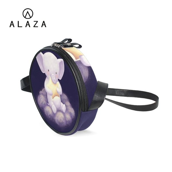 ALAZA Dream Cat Elephant Printing Canvas Handbag Christmas Gift Messenger Bag Crossbody Shoulder Bag For Women Kids