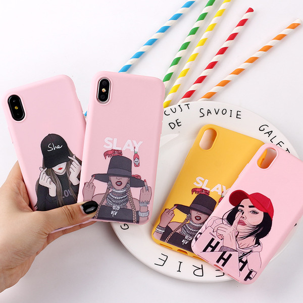 For iphone 11 pro x max xr fa hion girl idea phone ca e 6 7 8 x plu cartoon painted oft cell phone ca e