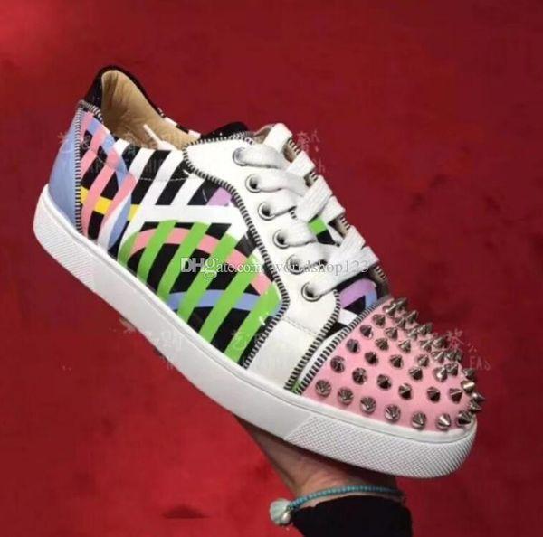 2019 Scarpe da donna Sneakers basse a punta piatta rosse da donna + Strisce Orlato Junior Spikes Sneakers basse da uomo con suola rosse da uomo con lacci