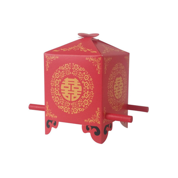 100pcs/lot Chinese Asian Style Red Double Happiness Sedan Chair Wedding Favor Box party Gift Candy Box