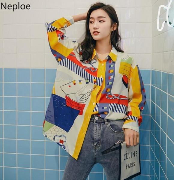 Nepole primavera estate 2019 nuova moda modello stampa camicetta manica lunga modis camicie casual sciolto ragazza fredda nuovo arrivo top 80064 SH190803
