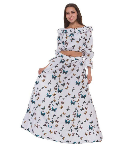 Europe and the United States new design fashion brand summer explosion models butterfly print collar long sleeve waist bohemian two-piece