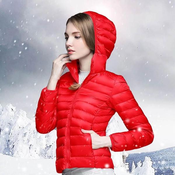 Kadınlar Uzun Kollu Kapşonlu Coat Kış Beyaz Ördek Aşağı Ultra Hafif Aşağı Ceket Kadın Taşınabilir Katı Dış Giyim Artı Boyutu 3XL