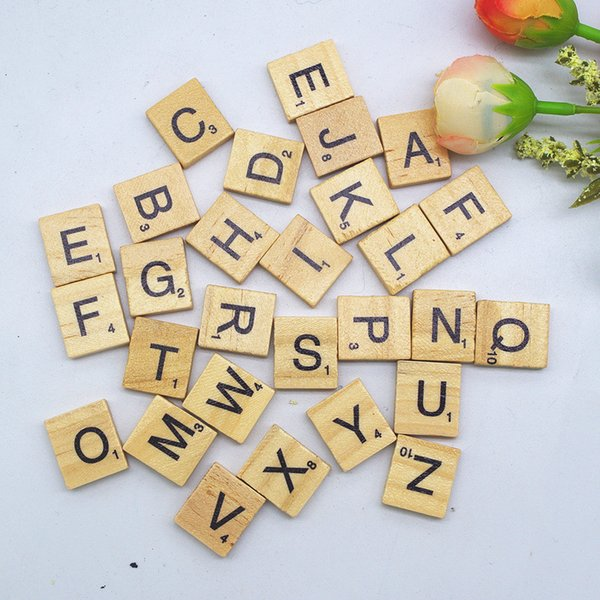 100pcs/Lot Wooden Alphabet Scrabble Tiles Black Capital Letters & Numbers For Crafts Wood DIY Block Education Toy