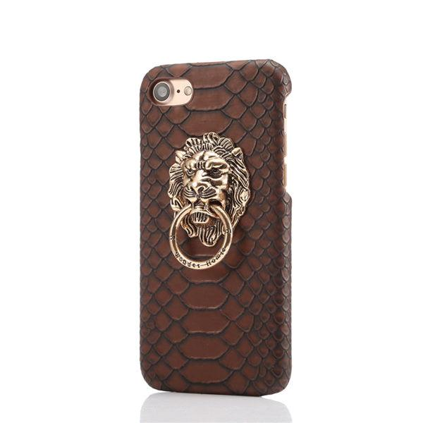 Iphone Cell Phone Cases Snake skin print lion head copper iPhone 6 mobile phone shell Apple 6plus protective cover finger ring bracket