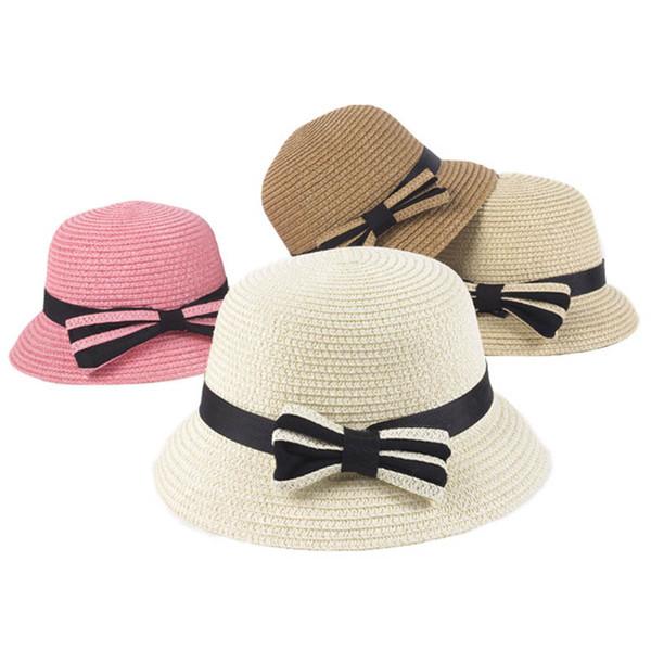 2019 Summer Kids Hats princess Straw Hat Summer bows kids Bucket Hat baby Sun Hat Children Caps Kids Summer Hats kid designer cap A3413