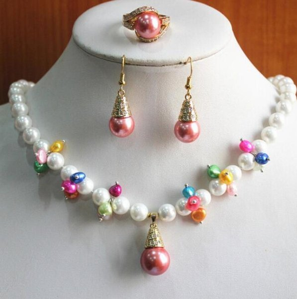 FREE SHIPPINGWholesale Women's 8mm white pearl mixed colorful bead flower Necklace earring ring(7/8/9) jewelry set