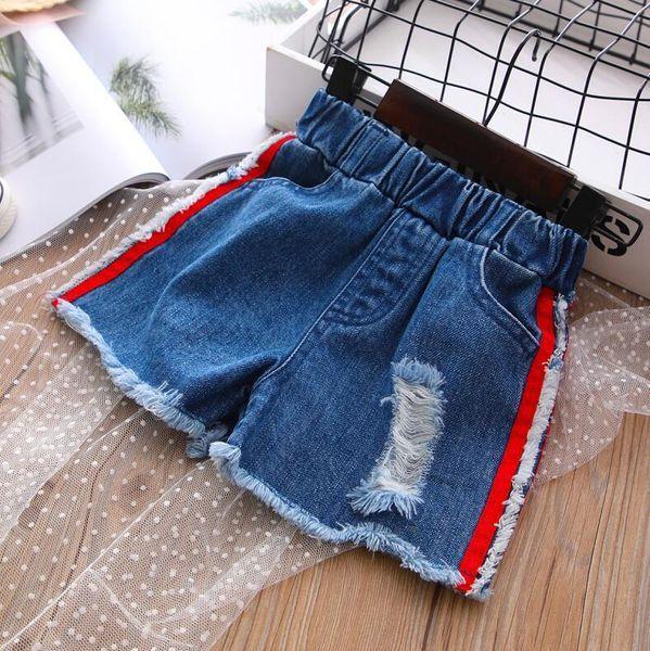2019 New Summer Item Girl Fashion Hot Pant leggins girls boys kids ripped blue boy shorts free shipping Jean denim children cartoon Jeans