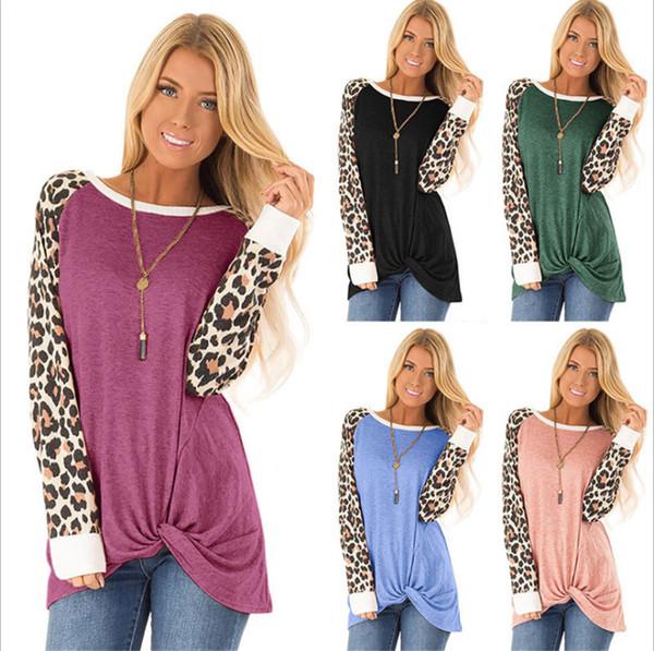 2019 Autunno Nuovo europeo e americano abbigliamento donna T-shirt a maniche lunghe attorcigliata stampa leopardo Top girocollo allentato
