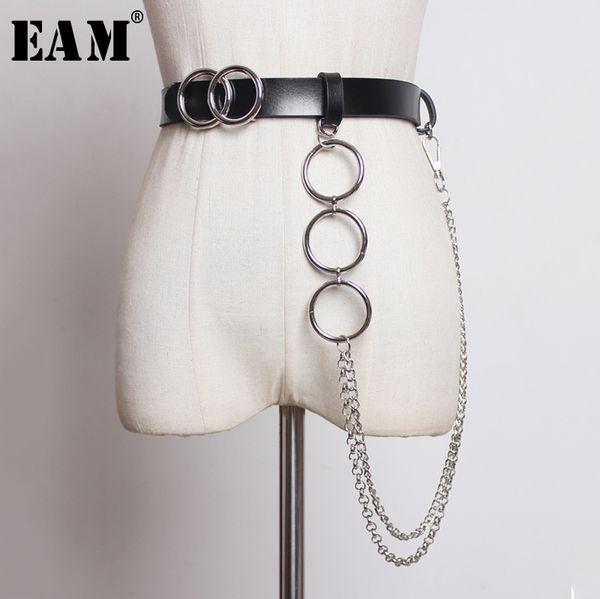 [EAM] Pu кожа Двойное кольцо пряжки цепи Длинные пояса Личность женщины Новая мода Tide All-сопрягать осень зима 2019 JZ131
