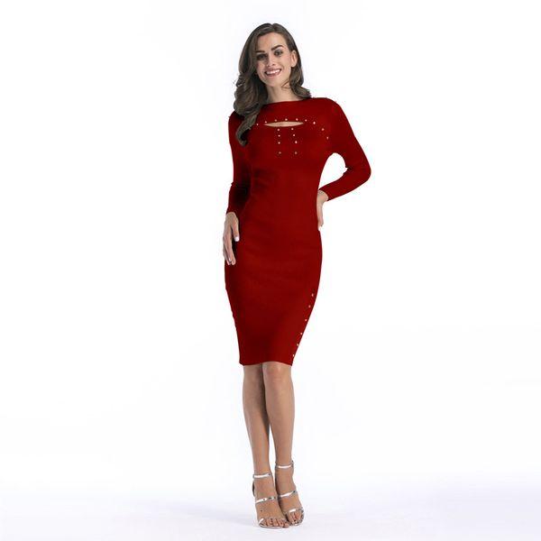 Women's 2019 Wear Long Sleeves Knitting Shirts Sweater Dress Package Hip Skirt Repair The Body Medium Length Paragraph
