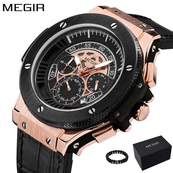 Megir Мужские Часы Мужские Часы Кварцевые Спортивные Часы Силиконовые Розовое Золото Хронограф Модные Наручные Часы Для Мужчин