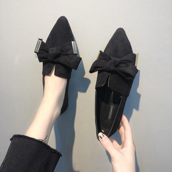 Attractive2019 Single Sharp Femme Automne Petit Joker Frais Chaussures Plates Bow Doug Chaussure
