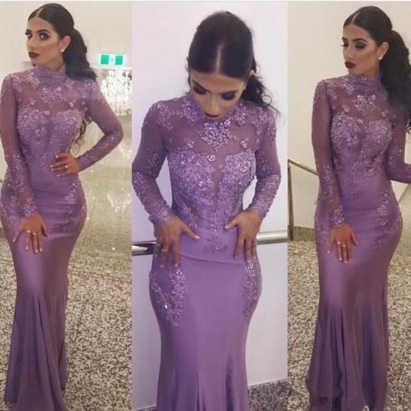 Lavendel Spitze 2018 Abendkleider mit langen Ärmeln Meerjungfrau Formale Abendkleider Hoher Kragen Afrikanische Muslimische Mutter der Braut Kleid