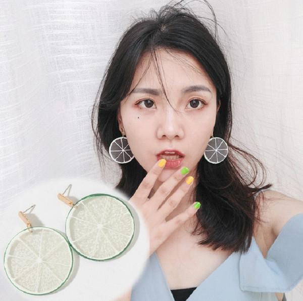 Personalidad coreana verano lindos pendientes de limón Pendientes de moda creativa