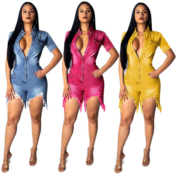 Summer Women V Neck Denim Jumpsuits Rompers Jeans Shorts Sexy One Piece Outfits Short Sleeve Pockets button Playsuits Bodycon Bodysuit