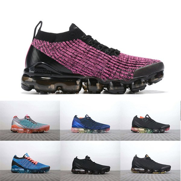2019 Örgü Fly 3.0 Koşu Ayakkabıları Üçlü Siyah Beyaz Ordu Yeşil Mens Womens Nefes Sneakers Yürüyüş Spor Ayakkabı Boyutu 36-45