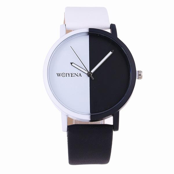 Bayanlar spor saatler 2019 Sıcak Satış Moda Yaratıcı siyah beyaz renk dial Kuvars İzle Erkekler Kadınlar Basit Deri Saatı